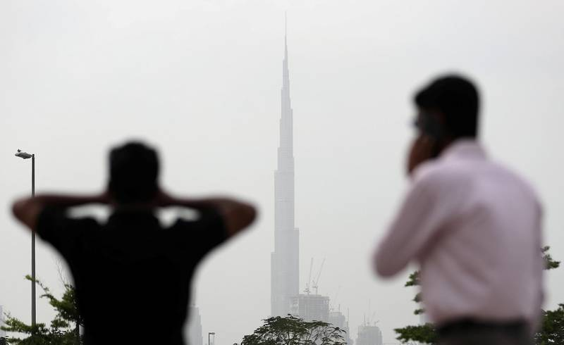 DUBAI, UNITED ARAB EMIRATES , Feb 10  – 2020 :-  Dusty and cloudy weather in Dubai. (Pawan  Singh / The National) For News.