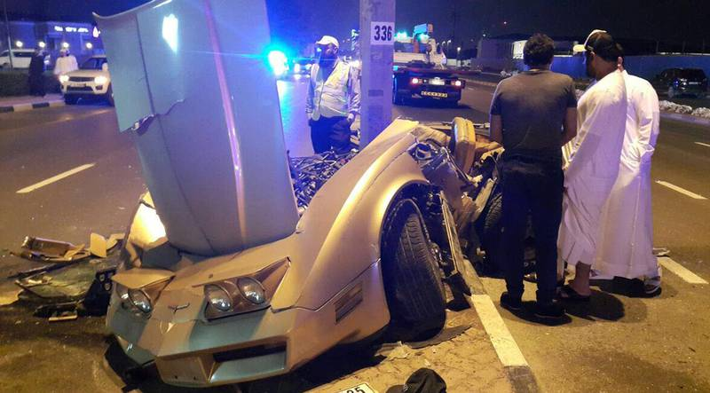 April 10, 2016, Dubai - Provided photo of a car accident i Dubai. One person was seriously injured and another sustained moderate injuries on Friday when two vehicles collided on Al Wasl Road at around 1am.   Courtesy Dubai Police  *** Local Caption ***  na11ap-dubai_crash.jpg