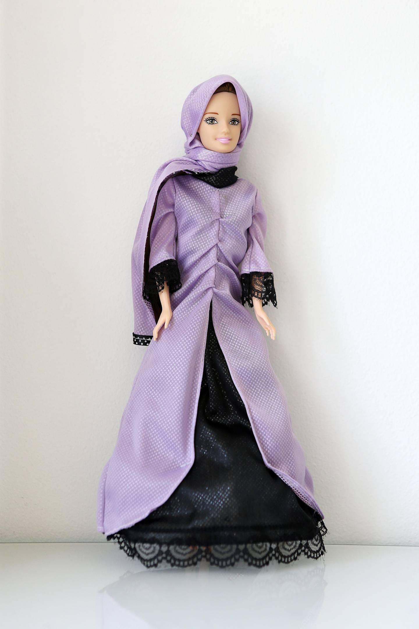 DUBAI , UNITED ARAB EMIRATES , JULY 19  – 2017 :- Jenna the Quran teacher doll designed by French woman Samira Amarir at her home in Jumeirah Beach Residence in Dubai. ( Pawan Singh / The National ) Story by Anna Zacharias