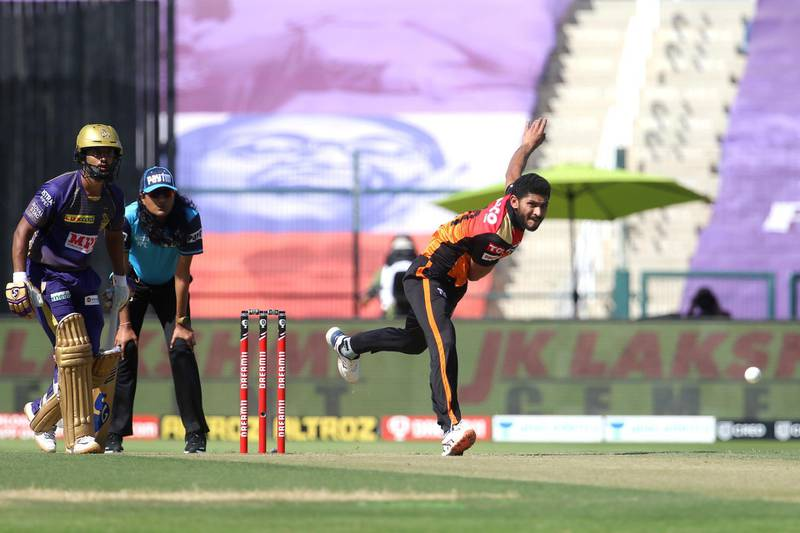 Basil Thampi of Sunrisers Hyderabad bowls during match 35 of season 13 of the Dream 11 Indian Premier League (IPL) between the Sunrisers Hyderabad and the Kolkata Knight Riders at the Sheikh Zayed Stadium, Abu Dhabi  in the United Arab Emirates on the 18th October 2020.  Photo by: Vipin Pawar  / Sportzpics for BCCI