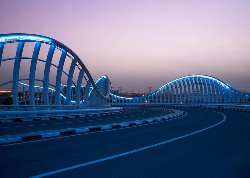 DUBAI, UNITED ARAB EMIRATES. 11 APRIL 2020. Closed Meydan bridge.(Photo: Reem Mohammed/The National)Reporter:Section: