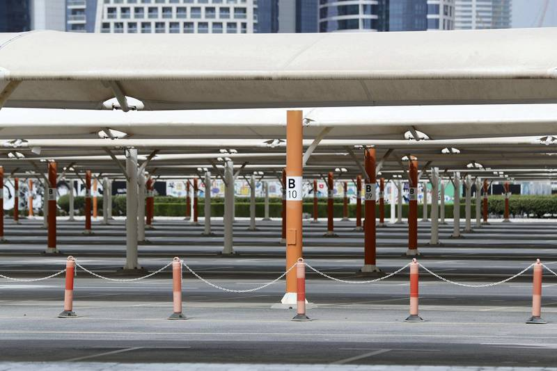 Dubai, United Arab Emirates - Reporter: N/A: An empty carpark in the Design District after Dubai imposed new restrictions on travel and shopping due to the corona virus. Sunday, April 5th, 2020. Dubai. Chris Whiteoak / The National