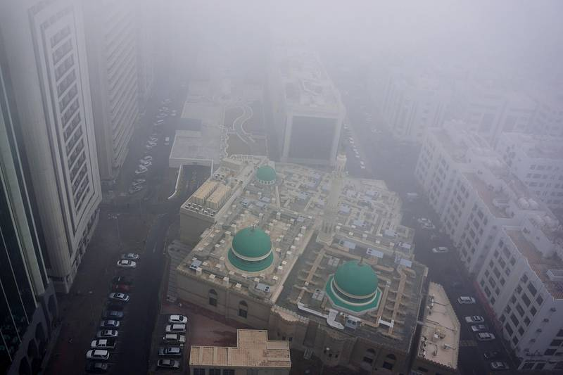 ABU DHABI, UNITED ARAB EMIRATES - - -  January 23, 2013 ---  At 9am this morning, Abu Dhabi was under seige with a blanket of fog.   ( DELORES JOHNSON / The National )
