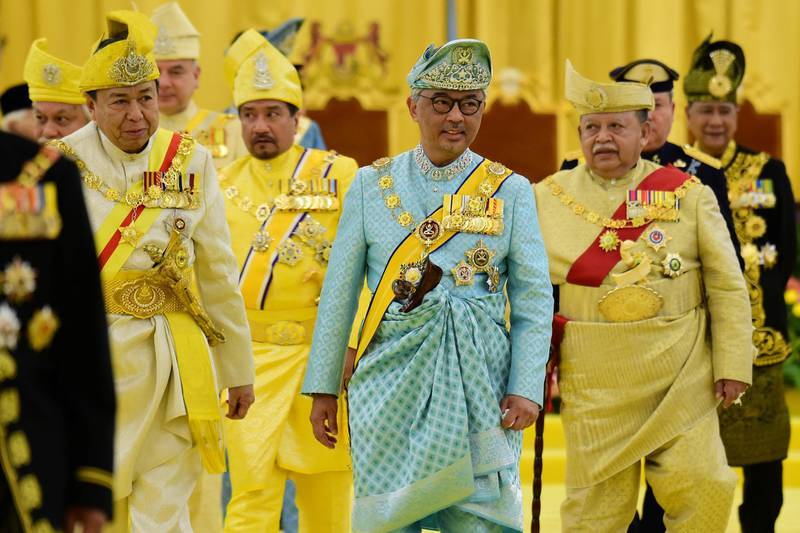 Malaysia's new King Sultan Abdullah Sultan Ahmad Shah leaves after taking oath at National Palace in Kuala Lumpur, Malaysia January 31, 2019. Department of Information/Shaiful Nizal Ismail via REUTERS ATTENTION EDITORS - THIS IMAGE WAS PROVIDED BY A THIRD PARTY. NO RESALES. NO ARCHIVES.