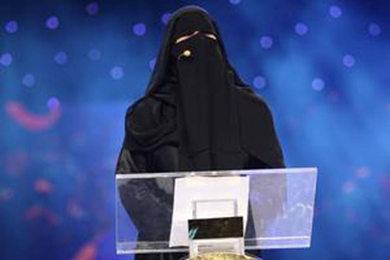 Hessa Hilal, Saudi poetess, reciting a poem about those who issue subversive fatwas calling for the death of anyone who allows the mixing of the two sexes.Courtesy of Abu Dhabi Authority for Culture & Heritage.