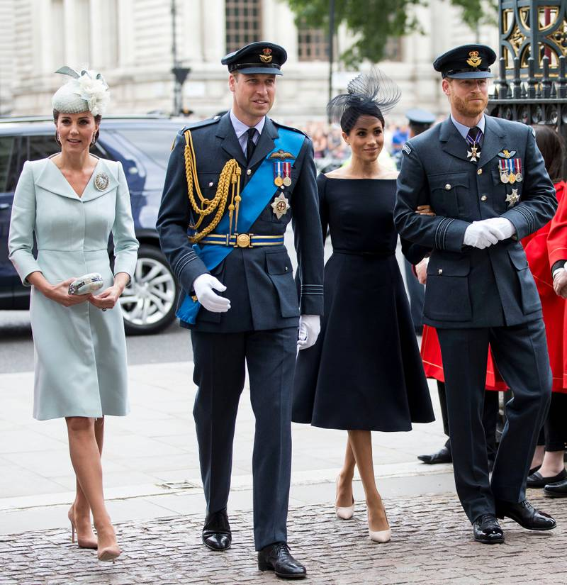 Mandatory Credit: Photo by David Hartley/REX/Shutterstock (9753828x) Prince William and Catherine Duchess of Cambridge joined Prince Harry and Meghan Duchess of Sussex  100th Anniversary of the Royal Air Force, London, UK - 10 Jul 2018