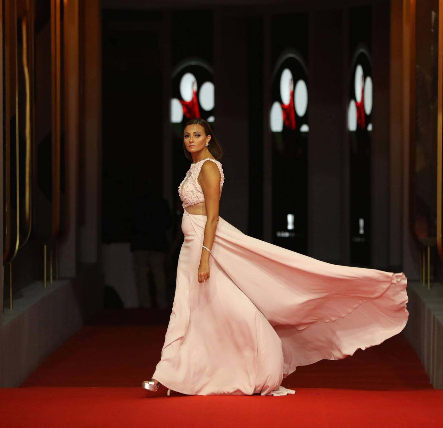 Egyptian actress Bushra Roza poses on the red carpet during the third edition of the Gouna Film Festival (GFF), in the Egyptian Red Sea resort of el-Gouna on September 20, 2019.  - RESTRICTED TO EDITORIAL USE  / AFP / El Gouna Film Festival / PATRICK BAZ / RESTRICTED TO EDITORIAL USE