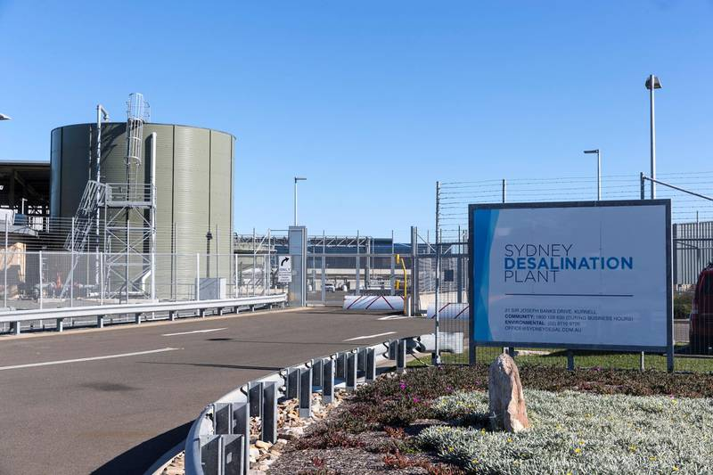 SYDNEY, AUSTRALIA - MAY 30: The Sydney Desalination Plant in Kurnell, which was reactivated in January after dam levels dropped below 60%, on May 30, 2019 in Sydney, Australia. The NSW Government has decided to enforce water restrictions from 1 June to help slow a rapid decline in Sydney's reservoirs and dams amidst ongoing drought. Dam levels in Sydney are currently at 53.6 per cent, only slightly above the formal trigger for level-one water restrictions of 50 per cent. As Sydney is experiencing some of its lowest inflows into its dams since the 1940s, the state government decided to introduce the restrictions earlier than usual. Sydney residents will be banned from using sprinklers and hoses on their lawns and gardens between 10am and 4pm. Hoses must also be fitted with a trigger nozzle that has an instant off switch. Fines for breaches will be $220 for individuals and $550 for companies - with a three-month grace period to allow people to adjust. (Photo by Brook Mitchell/Getty Images)