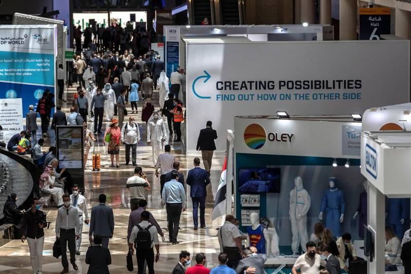 The opening day of Arab Health 2021 at the Dubai World Trade Center on June 21st, 2021. Antonie Robertson / The National.Reporter: Nic Webster for National