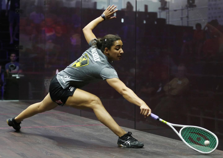 Raneem El Welily of Egypt returns a shot from Sarah-Jane Perry of England, during the Dubai World Series Finals squash tournament in Dubai, United Arab Emirates, Thursday, June 7, 2018. (AP Photo/Kamran Jebreili)