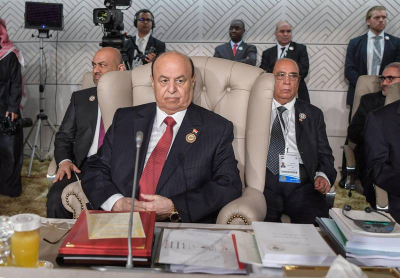 Yemeni President Abedrabbo Mansour Hadi attends the opening session of the 30th Arab League summit in the Tunisian capital Tunis on March 31, 2019.  / AFP / POOL / FETHI BELAID