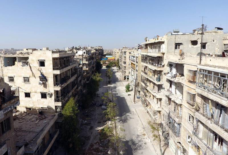 A general view taken with a drone shows damaged buildings in a rebel-held area of Aleppo, Syria, October 13, 2016. Picture taken October 13, 2016. REUTERS/Abdalrhman Ismail