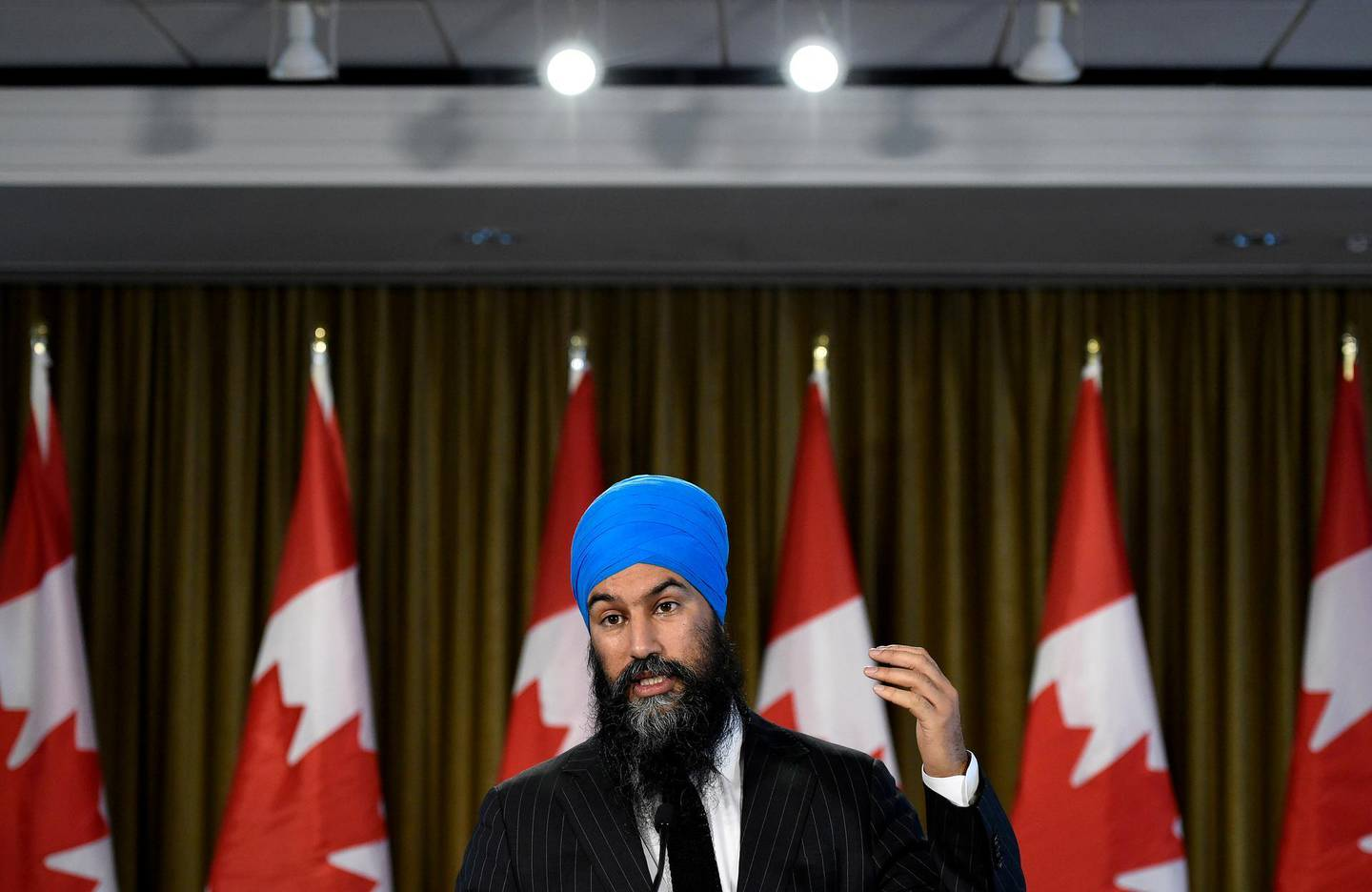 NDP Leader Jagmeet Singh speaks with reporters following the results of the 2019 federal election in Burnaby, British Columbia, Tuesday, Oct. 22, 2019. (Nathan Denette/The Canadian Press via AP)