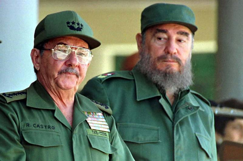 Cuban President Fidel Castro and his brother, Armed Forces Minister Raul Castro (L), preside over a ceremony marking the 100th anniversary of the death of independence hero Antonio Maceo, December 7. Cuba marked the day with a defiant message that the island is set on taking its Communist system into the next century.