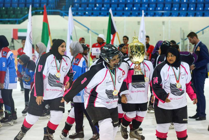 Abu Dhabi, United Arab Emirates - Abu Dhabi Storms outbeats the Al Ain Theebs 9-2 at the inaugural WomenÕs Gulf Clubs Cup at Zayed Sports City on May 5, 2018. (Khushnum Bhandari/ The National)