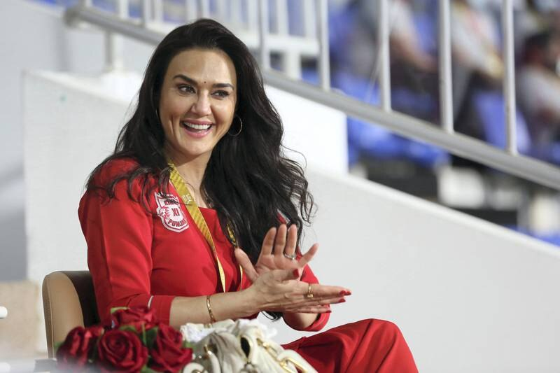 Preity Zinta co owner of the Kings XI Punjab during match 31 of season 13 of the Indian Premier League (IPL ) between the Royal Challengers Bangalore and the Kings XI Punjab held at the Sharjah Cricket Stadium, Sharjah in the United Arab Emirates on the 15th October 2020.  Photo by: Arjun Singh  / Sportzpics for BCCI
