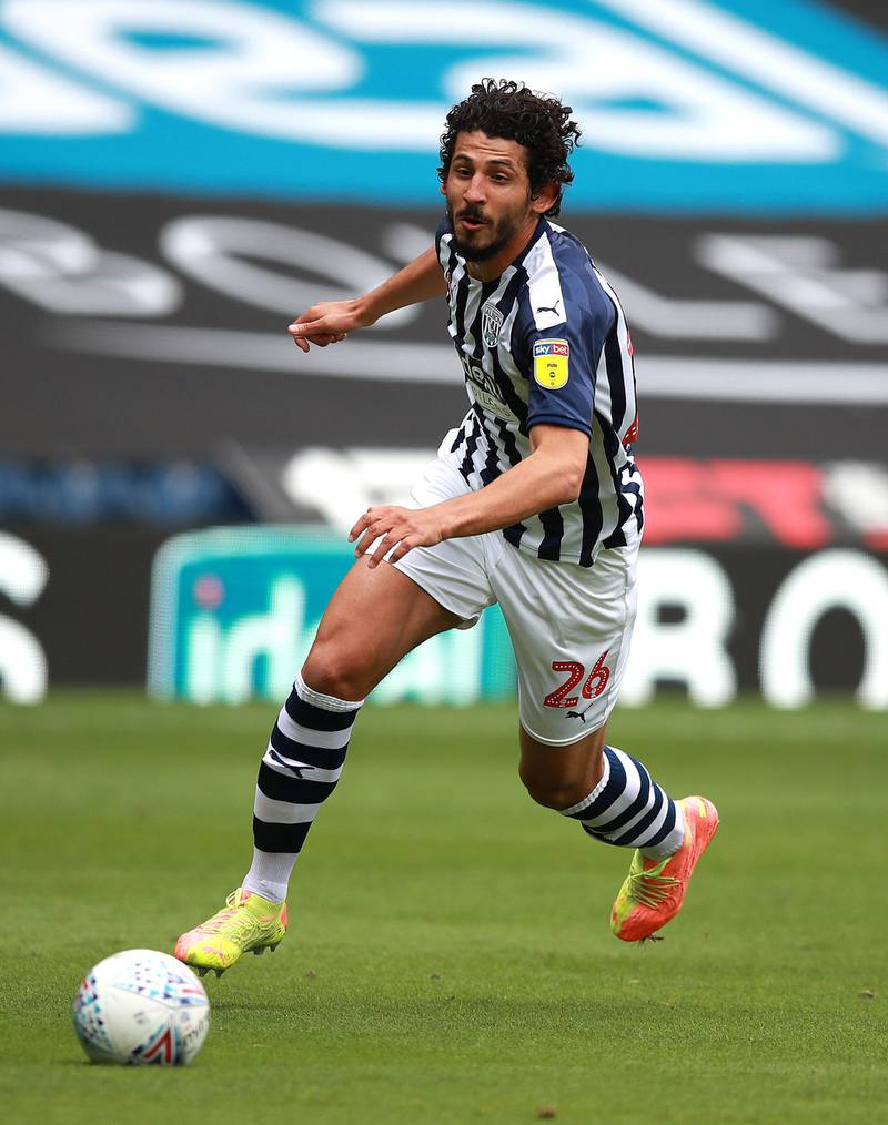 WEST BROMWICH, ENGLAND - JULY 05:  Ahmed Hegazi of West Bromwich Albion runs with the ball during the Sky Bet Championship match between West Bromwich Albion and Hull City at The Hawthorns on July 05, 2020 in West Bromwich, England. (Photo by David Rogers/Getty Images)