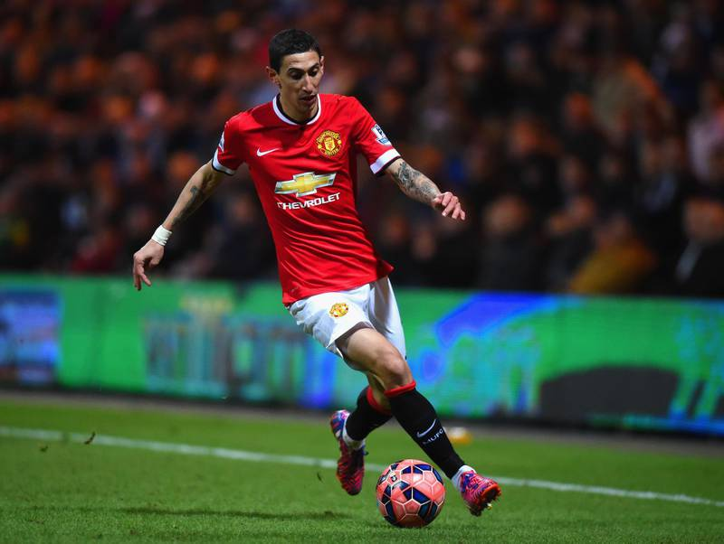 PRESTON, ENGLAND - FEBRUARY 16: Angel di Maria of Manchester United on the ball during the FA Cup Fifth round match between Preston North End and Manchester United at Deepdale on February 16, 2015 in Preston, England  (Photo by Michael Regan/Getty Images)