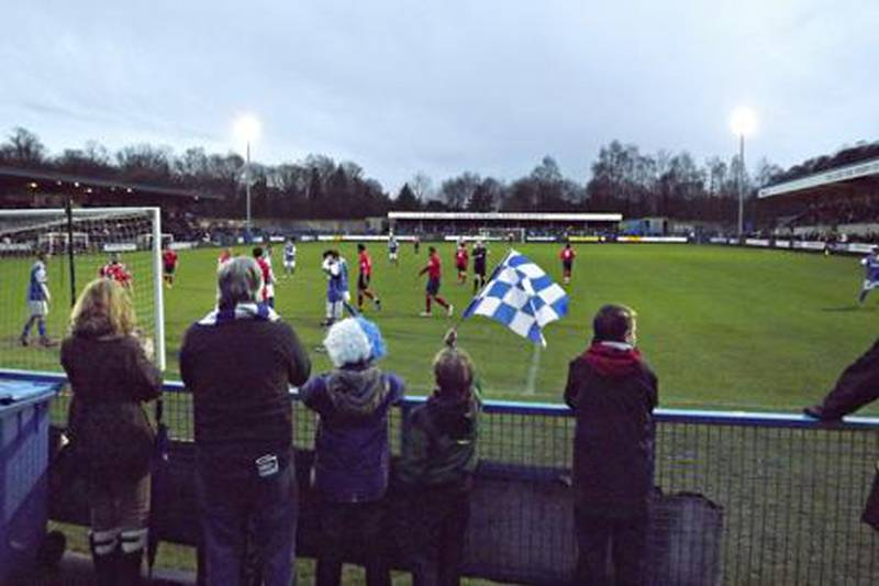"""Image for Andy Mitten story on Manchester's """"other"""" derby - Stalybridge Celtic vs Hyde and what life is like in Division 6 football. (Andy Mitten photo)"""