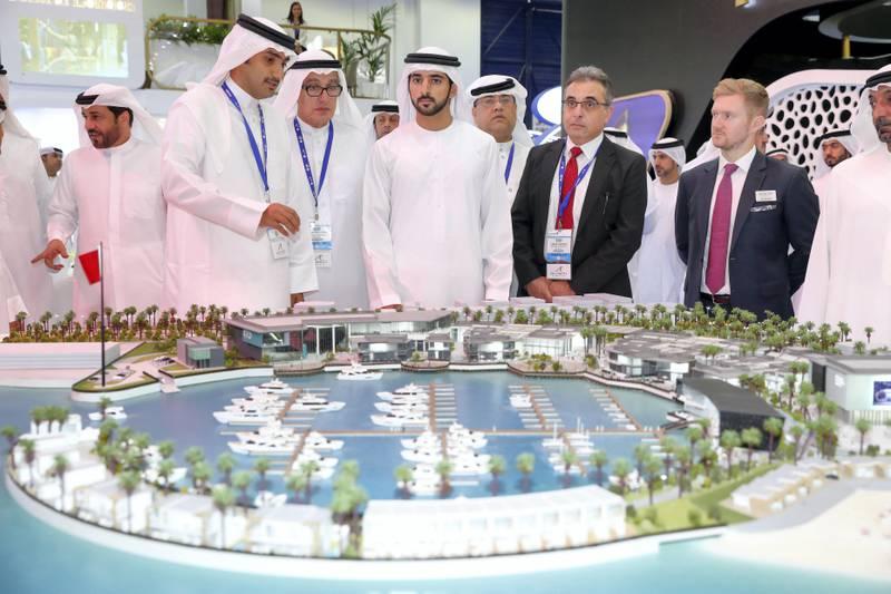 Dubai, United Arab Emirates - September 11th, 2017: Sheikh Hamdan bin Mohammed Al Maktoum visits the 16th addition of Cityscape Global. Monday, September 11th, 2017 at World Trade centre, Dubai.