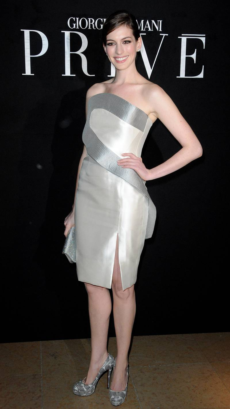 PARIS - JANUARY 25:  Actress Anne Hathaway attends Giorgio Armani Prive Fashion Show during Paris Fashion Week Haute Couture S/S 2010 at Palais de Chaillot on January 25, 2010 in Paris, France.  (Photo by Pascal Le Segretain/Getty Images)