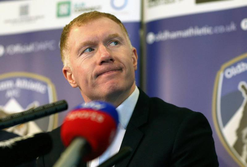 Newly unveiled Oldham Athletic soccer club manager Paul Scholes during a press conference at Boundary Park in Oldham, England, Monday Feb. 11, 2019. Former Manchester United midfielder Paul Scholes has landed his first managerial job at Oldham, which plays in England's fourth division.(Barrington Coombs/PA via AP)