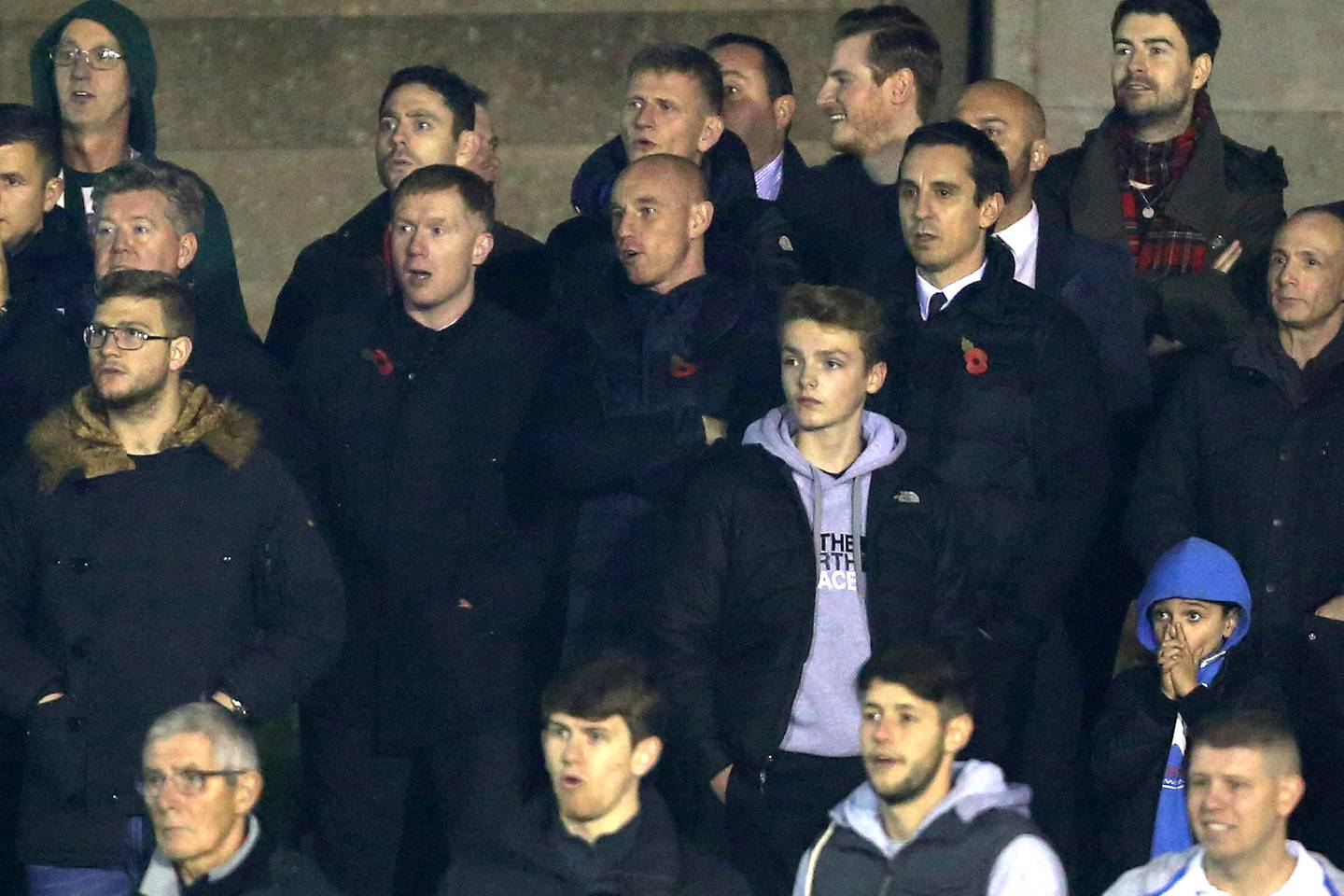 Nov. 6, 2015 - Manchester, United Kingdom - Paul Scholes, Nicky Butt and Gary Neville watch on from the stands - Salford City vs Notts County - The Emirates FA Cup - Moor Lane - Manchester - 06/11/2015 Pic Philip Oldham/SportImage. (Cal Sport Media via AP Images)