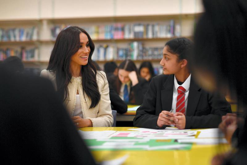 LONDON, ENGLAND - MARCH 06: Meghan, Duchess of Sussex speaks to stundents during a visit to Robert Clack School in Dagenham ahead of International Women's Day (IWD) held on Sunday 8th March, on March 6, 2020 in London, England.   (Photo by Ben Stansall-WPA Pool/Getty Images)