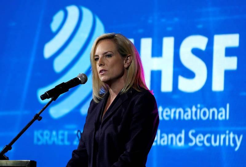 U.S. Secretary of Homeland Security Kirstjen Nielsen speaks during the International Homeland Security Forum conference in Jerusalem, June 12, 2018. REUTERS/Ronen Zvulun