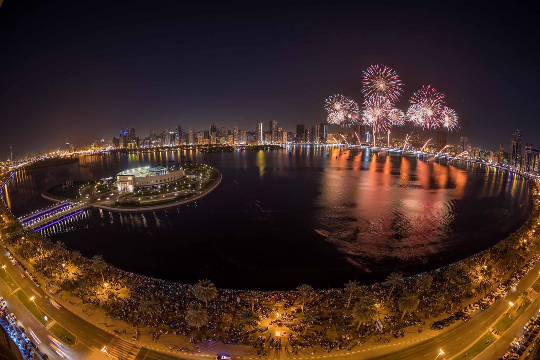 New Year fireworks at Al Majaz Waterfront in Sharjah welcoming 2018. Wam