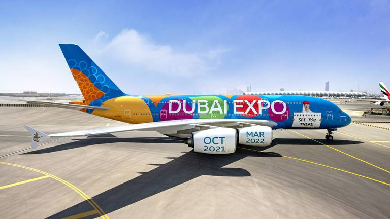 An image that illustrates this article Emirates reveals special Expo 2020 Dubai livery: 'Be part of the magic'