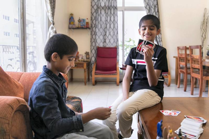 DUBAI, UNITED ARAB EMIRATES - JUNE 26, 2018. Rishi, 9, and his brother Rohan, 6, donated their hair two weeks ago to chemotherapy patients through an NGO.The boys began growing their hair in February last year.(Photo by Reem Mohammed/The National)Reporter: Patrick Ryan Section: NA