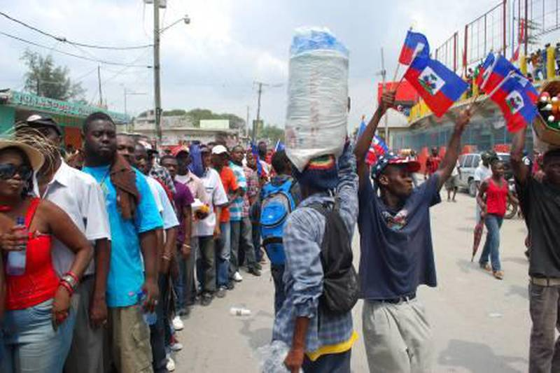 Fans queue outside the Sylvio Cator stadium before Haiti take on the U.S. Virgin Islands their 2014 World Cup qualifier. September 2nd, 2011. (James Montague for The National)
