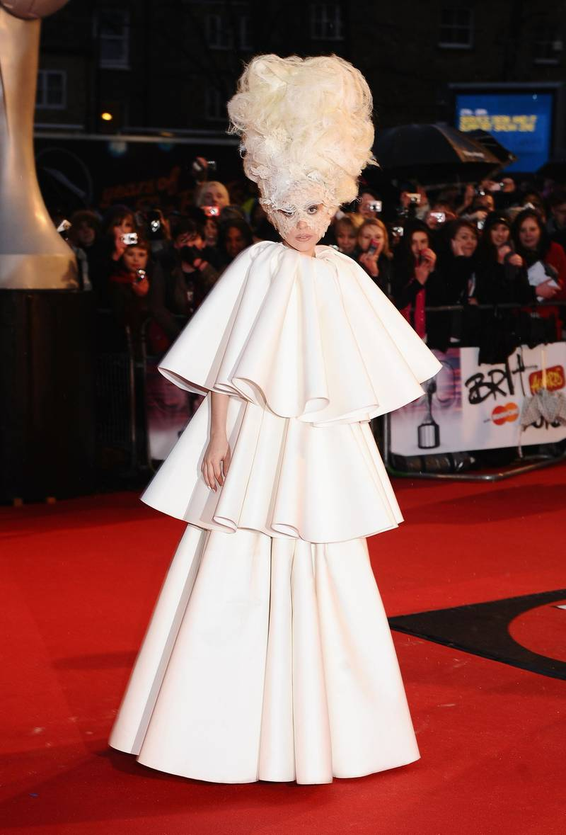 LONDON, ENGLAND - FEBRUARY 16:  Lady Gaga attends The Brit Awards at Earls Court on February 16, 2010 in London, England.  (Photo by Ian Gavan/Getty Images)