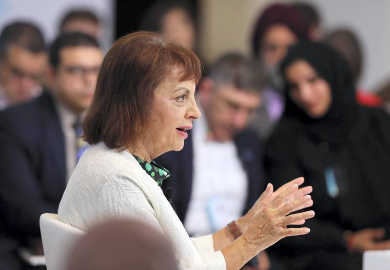 Dubai, United Arab Emirates - February 10, 2019: H.E. Maria Manuel Leitao Marques, Minister of the Presidency and of Administrative Modernisation speaks about Launching the Global Happiness and Wellbeing Policy Report during day 1 at the World Government Summit. Sunday the 10th of February 2019 at Madinat, Dubai. Chris Whiteoak / The National