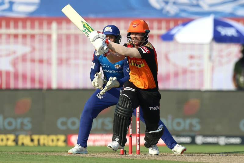David Warner captain of Sunrisers Hyderabad bats during match 17 of season 13 of the Dream 11 Indian Premier League (IPL) between the Mumbai Indians and the Sunrisers Hyderabad held at the Sharjah Cricket Stadium, Sharjah in the United Arab Emirates on the 4th October 2020. Photo by: Deepak Malik  / Sportzpics for BCCI