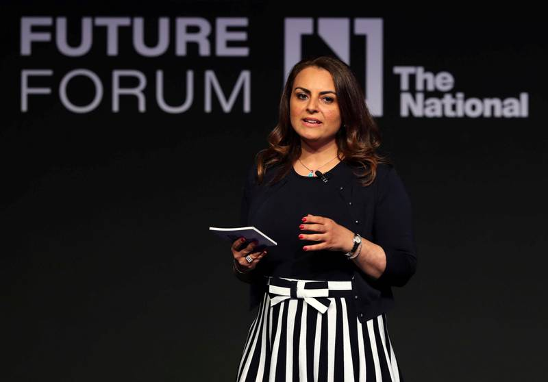 Abu Dhabi, United Arab Emirates - May 8th, 2018: Mina Al Oraibi, Editor in Chief of The National at The National's Future Forum. Tuesday, May 8th, 2018 at Cleveland Clinic, Abu Dhabi. Chris Whiteoak / The National