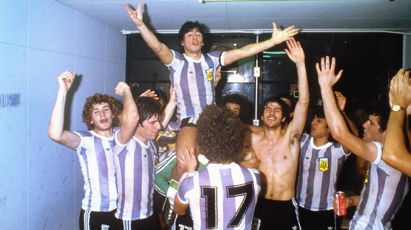 TOKYO, JAPAN - SEPTEMBER 07: Argentina captain Diego Maradona celebrates on the shoulders of team mates after they had beaten Russia 3-1 to win the 1979 FIFA World Youth Championships at the National Olympic Stadium on September 7, 1979 in Tokyo, Japan. (Photo by Allsport/Getty Images)