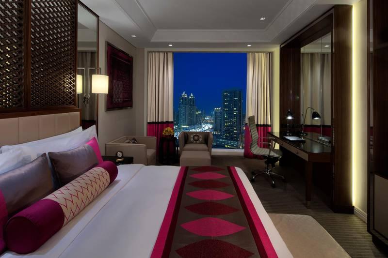 A handout photo of Luxury City View Room at Taj Dubai hotel (Courtesy: Taj Dubai) NOTE: For Adam Workman's hotel insider review for Weekend section *** Local Caption ***  taj-dubai-hotel06.jpg