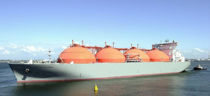 """The LNG carrier, a tank ship designed for transporting liquefied natural gas, """"Arctic Voyager"""" is towed in the port of Rotterdam, The Netherlands on July 6, 2011. For the past month, the Gate terminal, the first LNG terminal in the Netherlands has been running on trial. AFP PHOTO / ANP / XTRA / LEX van Lieshout  ***netherlands out - belgium out*** / AFP PHOTO / ANP / LEX VAN LIESHOUT"""