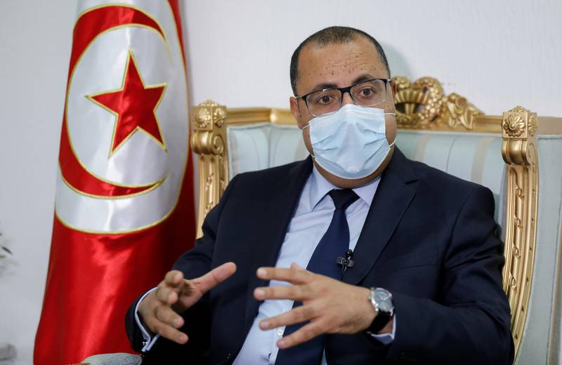 Tunisian Prime Minister Hichem Mechichi speaks during an interview with Reuters in Tunis, Tunisia April 30, 2021.  REUTERS/Zoubeir Souissi