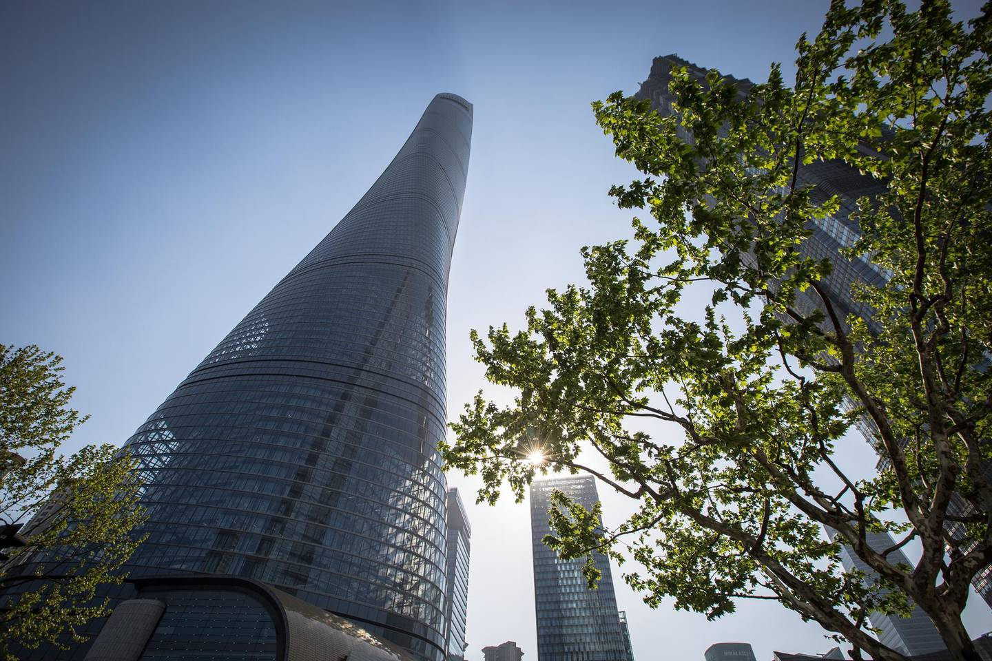 epa06793921 Shanghai Tower in Pudong area, Shanghai, China, 19 April 2018. The Shanghai Tower is 632 meters tall and has 128 floors. It is the tallest building in China and the world's second tallest building. The exterior of the building resembles a snake as it spirals upwards. The sky is the limit when it comes to tall buildings, which has sparked a worldwide race between nations to construct ever higher.  EPA-EFE/ROMAN PILIPEY