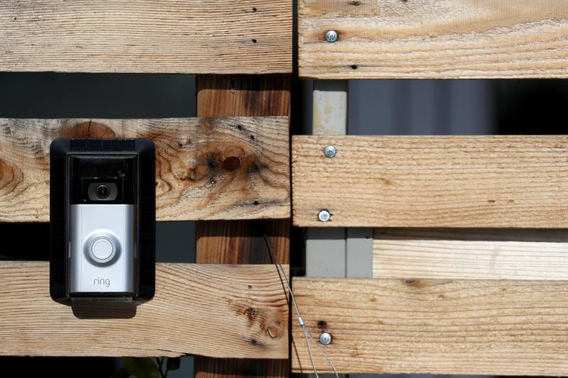 epa06569401 A Ring doorbell outside of Ring's offices in Santa Monica, California, USA, 27 February  2018. Amazon reported acquired the electronic door bell company Ring for more then $1 billion dollars  EPA/ANDREW GOMBERT
