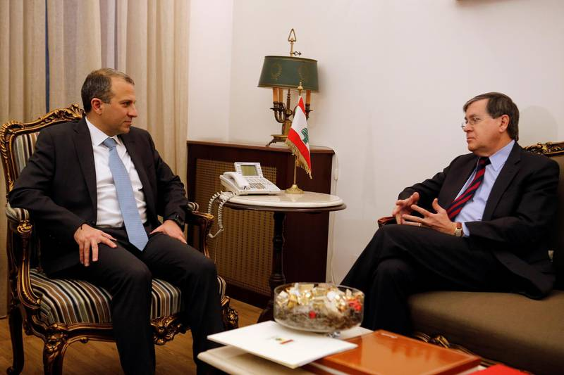 Lebanese Foreign Minister Gebran Bassil meets with Acting Assistant U.S. Secretary of State David Satterfield in Beirut, Lebanon February 16, 2018. REUTERS/Mohamed Azakir
