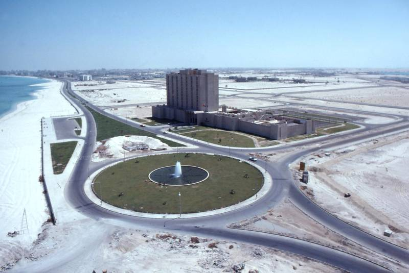 Hilton hotel in Abu Dhabi, circa 1975, taken by Alain Saint Hillaire.  Courtesy Alain Saint Hillaire *** Local Caption ***  AD 75 Hilton 0035.JPG