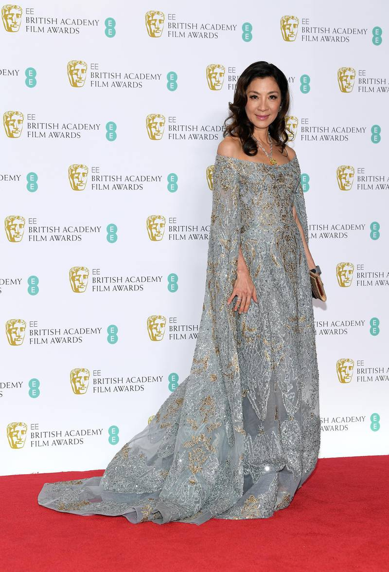 LONDON, ENGLAND - FEBRUARY 10:  Michelle Yeoh poses in the press room during the EE British Academy Film Awards at Royal Albert Hall on February 10, 2019 in London, England. (Photo by Pascal Le Segretain/Getty Images)