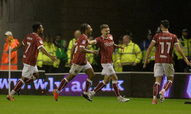 """Soccer Football - Championship - Wolverhampton Wanderers vs Bristol City - Molineux Stadium, Wolverhampton, Britain - September 12, 2017  Bristol City's Bobby Reid celebrates scoring their third goal   Action Images/Alan Walter  EDITORIAL USE ONLY. No use with unauthorized audio, video, data, fixture lists, club/league logos or """"live"""" services. Online in-match use limited to 75 images, no video emulation. No use in betting, games or single club/league/player publications. Please contact your account representative for further details."""