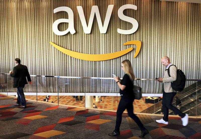 FILE PHOTO: Attendees at Amazon.com Inc annual cloud computing conference walk past the Amazon Web Services logo in Las Vegas, Nevada, U.S., November 30, 2017. REUTERS/Salvador Rodriguez/File Photo