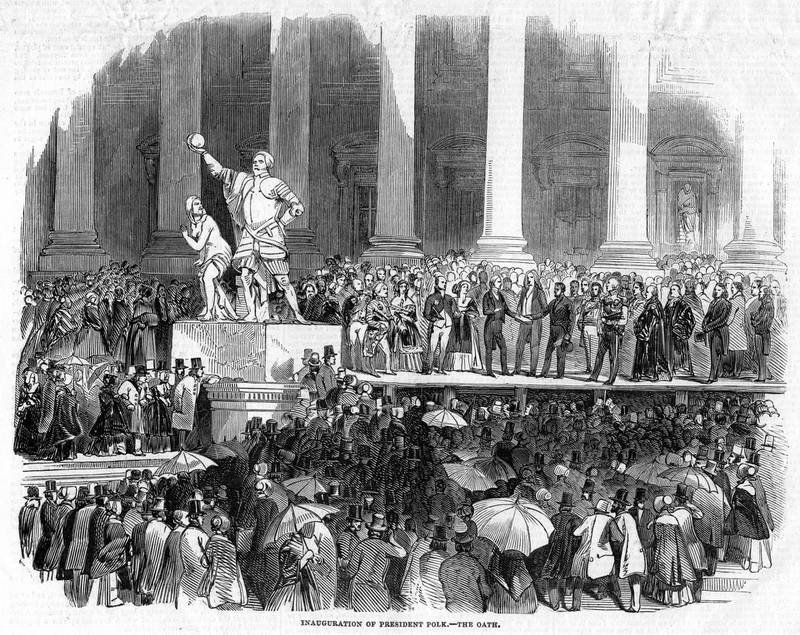 The Inauguration of President Polk, 1845. James Knox Polk (1795-1849) was the eleventh President of the United States, serving from 1845 to 1849. From the Illustrated London News, 19 April 1845. (Photo by The Print Collector/Print Collector/Getty Images)