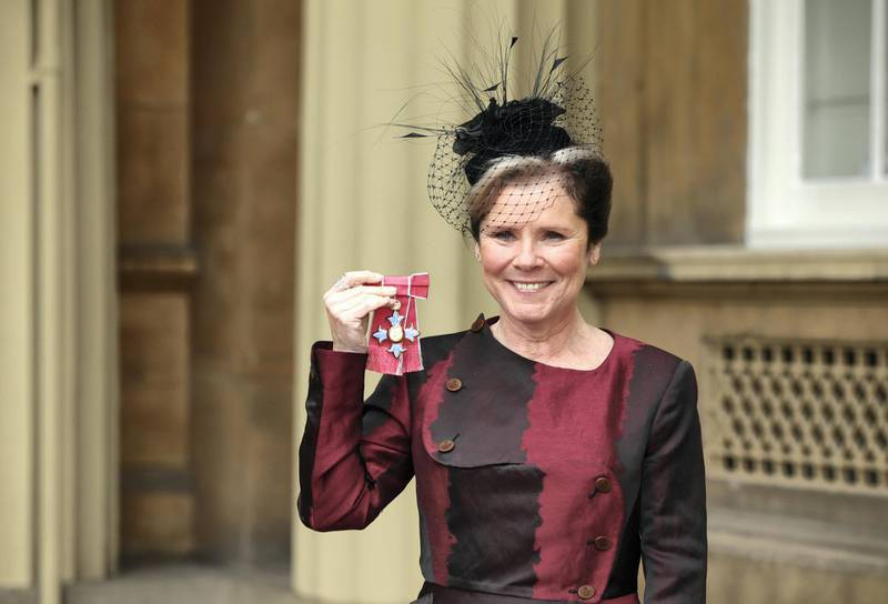 LONDON, ENGLAND - APRIL 22: Actress Imelda Staunton after receiving a CBE from the Prince William, Duke of Cambridge for services to drama at an investiture ceremony at Buckingham Palace on April 22, 2016 in London, England.  (Photo by Yui Mok - WPA Pool / Getty Images)